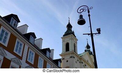 cloche, varsovie, tour, église, poland.