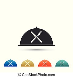 Cloche with crossed fork and knife icon isolated on white background. Restaurant symbol. Set elements in colored icons. Flat design. Vector Illustration
