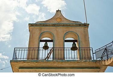 cloches, portail, église
