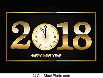 clock., μικροβιοφορέας , εικόνα , φόντο , έτος , καινούργιος , 2018