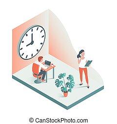 clock., 針對, 人們, 大, 辦公室, 背景, 工作