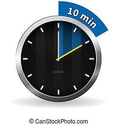 Clock 10 Minutes To Go - Dark Clock on White background with...