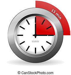 Clock 15 Minutes To Go - Bright Chrome Clock isolated on...
