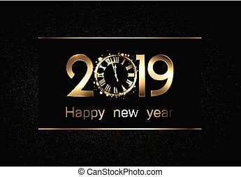 clock., 2019, μαύρο φόντο , έτος , καινούργιος