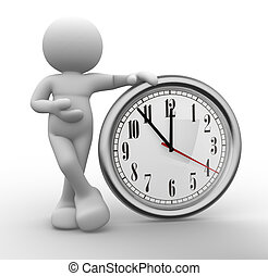 Clock - 3d people - human character, person and a clock. 3d...