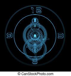 Clock (3D xray blue transparent)