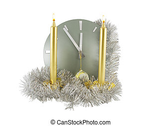 Clock (5 minutes to 12) with christmas decoration over white
