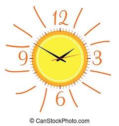 clock, a, sol, ilustração, vetorial, dois