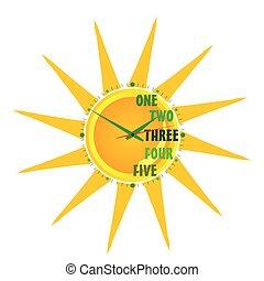 clock, a, sol, ilustração, vetorial, três