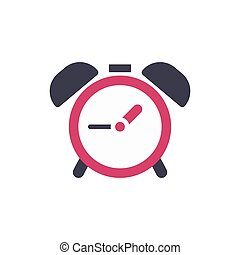 Clock alarm icon - time sign - flat vector illustration isolated on white background.