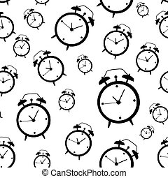 Clock Alarm Icon Vector Illustration Seamless Pattern Background