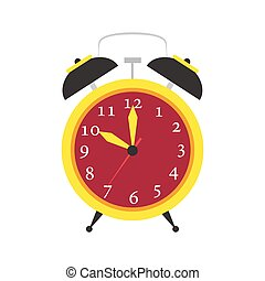 Clock alarm vector icon time isolated. Wake up background...
