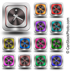 Clock aluminum glossy icons, crazy colors