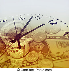 Time is money concept - Clock and American currency. Time is...