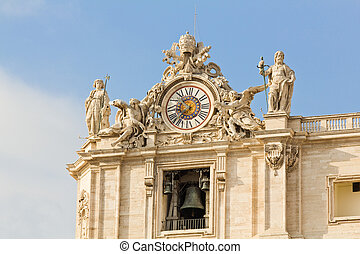 Clock and bell at St. Peter's Basilica in the Vatican