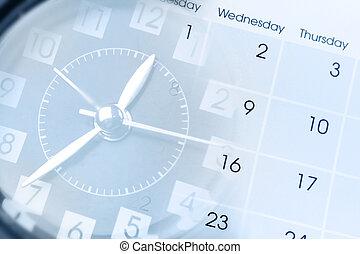 Clock and calendar - Clock face and calendar composite