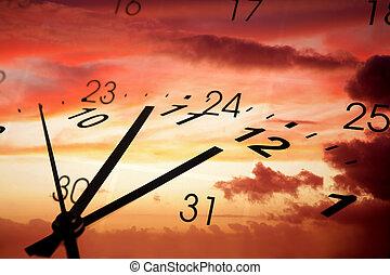 Clock face and calendar on sky