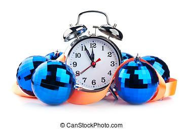 clock and christmas balls