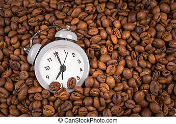 clock and coffee