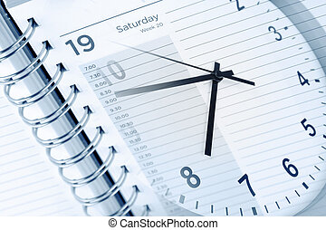 Clock face and diary page