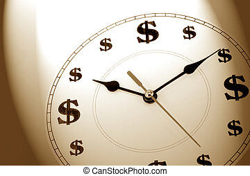 time is money - clock and dollar sign, concept of time is...