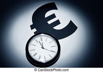 Euro Symbol - Clock and Euro Symbol for background