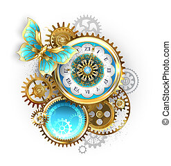 Clock and gear with butterfly
