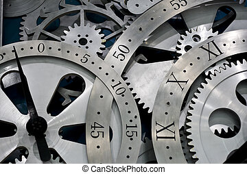 clock and gears - Closeup of gears from clock works.