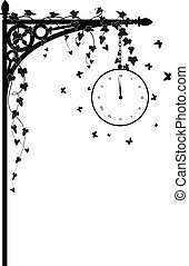 clock and ivy - vector illustration for corner design with ...