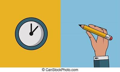 Clock and pencil HD - Hand using pencil and clock running...