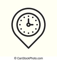 clock and pin, place location and timer icon, outline design editable stroke pixel perfect
