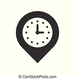 clock and pin, place location and timer icon, pixel perfect