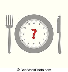 clock and question mark in a plate with cutlery