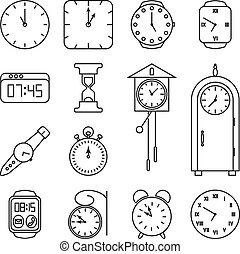 Clock and time vector line icons set