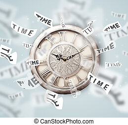 Clock and watch concept with time flying away