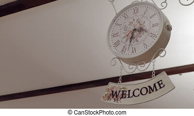 Clock And Welcome Sign,Background