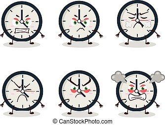 Clock Angry Expression - Clock cartoon character with ...