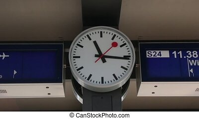 Clock At The Railway Station - Clock at a railway station in...