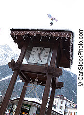 Clock at the square in Chamonix