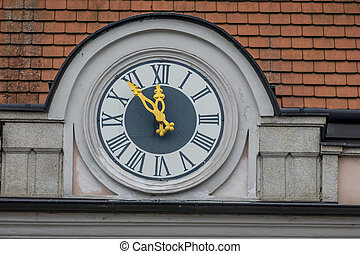 clock at the town hall, symbol of empty coffers in the...