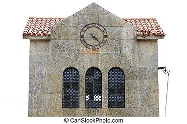 clock at top of building