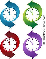 Clock Backwards - Clock backwards isolated on a white...