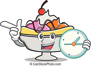 Clock banana split character cartoon vector illustration