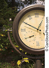Clock Barometer Thermometer - An old clock with a built in ...