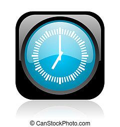 clock black and blue square web glossy icon
