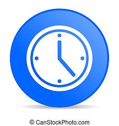 clock blue circle web glossy icon
