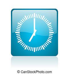 clock blue square web glossy icon