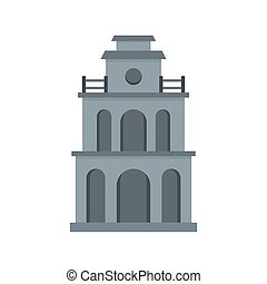 Clock building icon, flat style