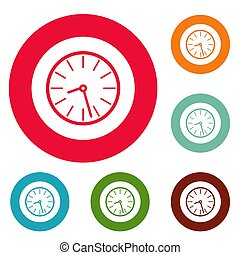 Clock business icons circle set