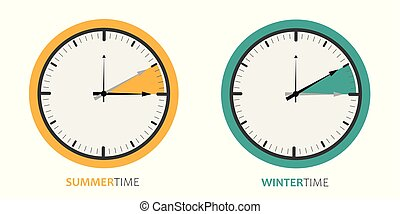 clock change summertime and wintertime vector illustration...